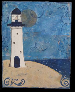 mixed media art lighthouse